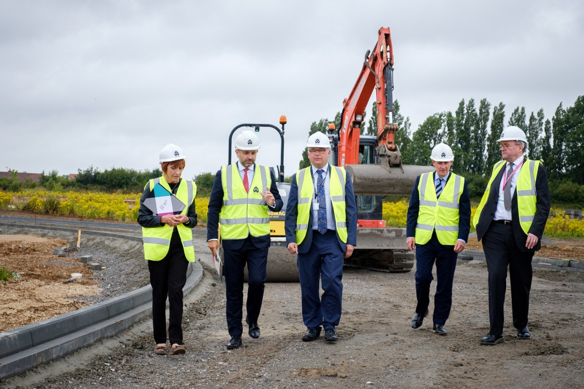 Wykeland Managing Director Dominic Gibbons, second left, briefs East Riding Council representatives, from left, Cllr Jane Evison, Cllr Richard Burton and Alan Menzies, with, second right, Wykeland Property Director David Donkin.
